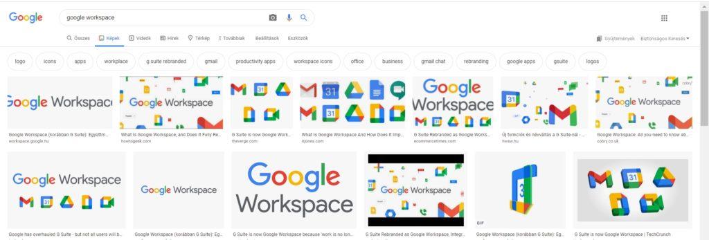 A Google képkeresés találati listája