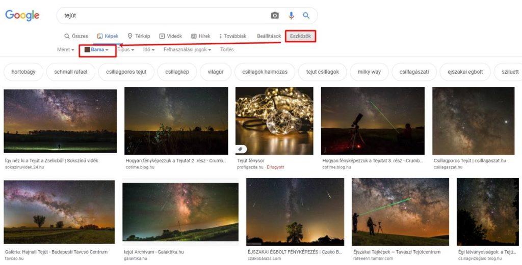 Képek színének szűrése a Google-ban