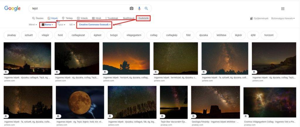 Több szűrő együttes alkalmazása a Google képkeresés során