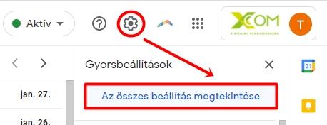 Az összes Gmail beállítás elérése