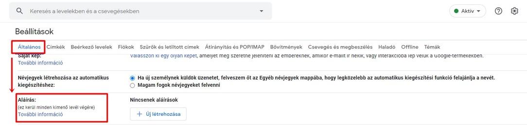Gmail általános beállítások
