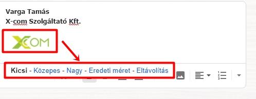 Aláíráskép méretezése a Gmail-ben