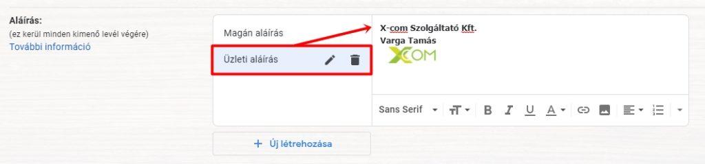 Aláírás szerkesztése a Gmail-ben