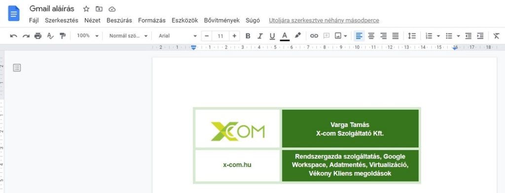 Gmail aláírás Google Dokumentumból