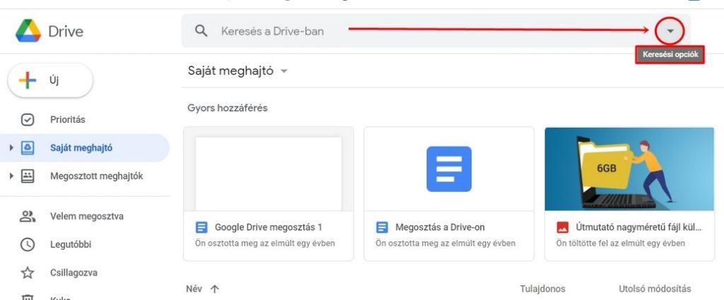 Google Drive speciális keresés