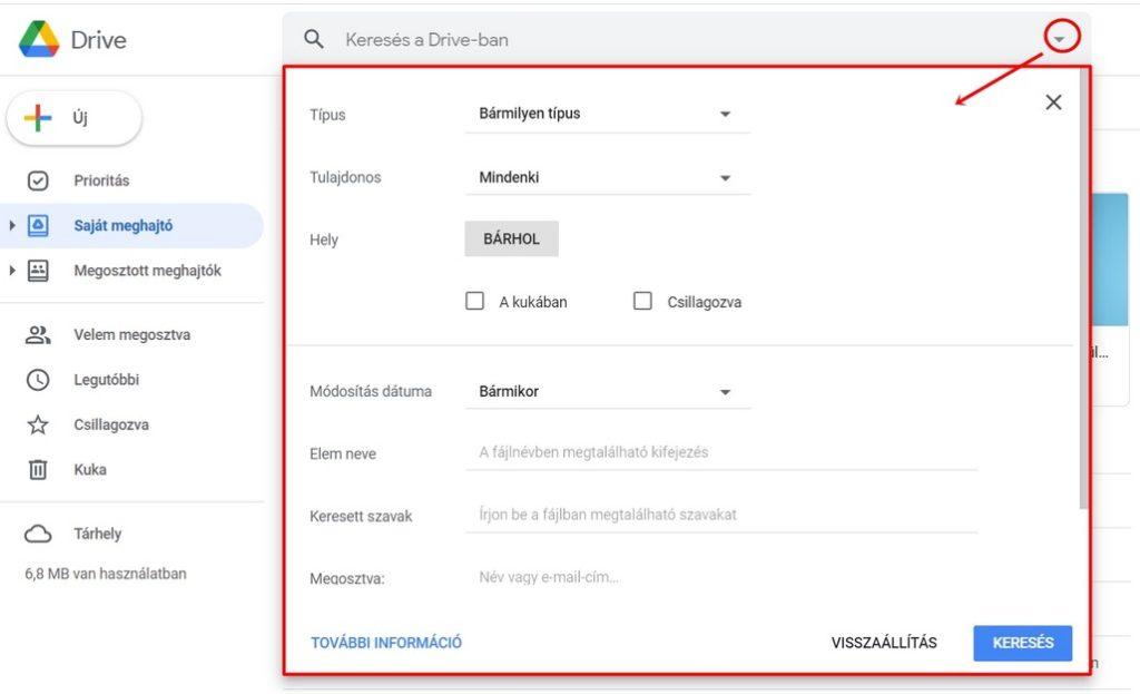 Speciális keresési lehetőségek a Google Drive-on