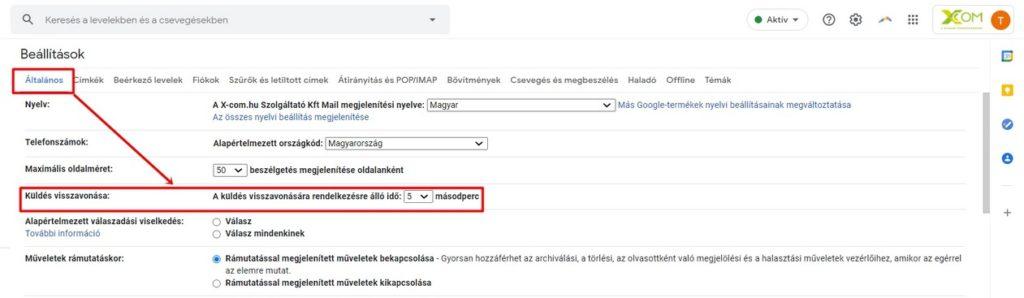 Küldés visszavonása lehetőség a Gmail-ben