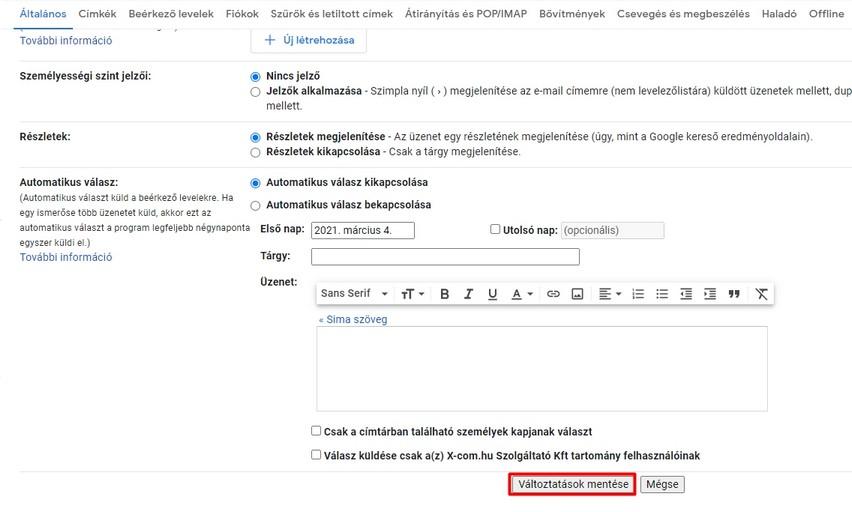 Levél visszahívás változásainak elmentése a Gmail-ben